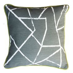 Smash Grey Scatter Cushion 450 x Front: Smash Grey Back: Cotton - Off White Trim: Avocado Piping Includes Regenerated Hollow Fiber Inner Ships in: Made to order 4 to 6 weeks
