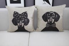 Mr. & Ms. Dachshund Cushion Cover * Free Shipping! *