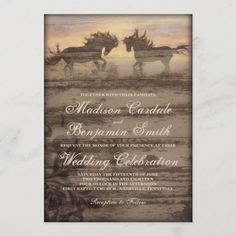 Two Horses Rustic Country Western Wedding Invites Horse Wedding, Rustic Wedding, Wedding Ideas, Luxury Wedding, Wedding Signs, Wedding Photos, Camo Wedding, Wedding Details, Wedding Stuff