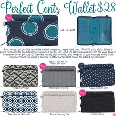 Perfect Cents Wallet by Thirty-One. Fall/Winter 2016. Click to order. Join my VIP Facebook Page at https://www.facebook.com/groups/1603655576518592/