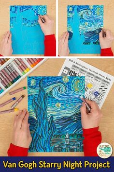 Learn art history while creating a Vincent Van Gogh-inspired Starry Night artwor. - Learn art history while creating a Vincent Van Gogh-inspired Starry Night artwork. Fill up your art - Vincent Van Gogh, Van Gogh For Kids, Art For Kids, Artwork For Kids, Desenhos Van Gogh, Post Impressionism Art, Art Sub Plans, Art Lesson Plans, Starry Night Art