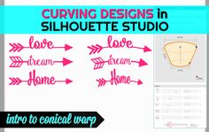 How to Make Designs Curve in Silhouette Studio: Meet the Conical Warp Tool (Silhouette School) Silhouette Cameo 2, Silhouette School Blog, Silhouette Design Studio, Silhouette Cameo Tutorials, Silhouette Cutter, Silhouette Machine, Silhouette Projects, Inkscape Tutorials, Curve Design