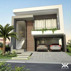 Sophisticated and elegant residential facade. Classic House Exterior, Modern Exterior House Designs, Modern House Facades, Modern Bungalow House, Modern Villa Design, Dream House Exterior, Modern Architecture House, Modern House Plans, 2 Storey House Design