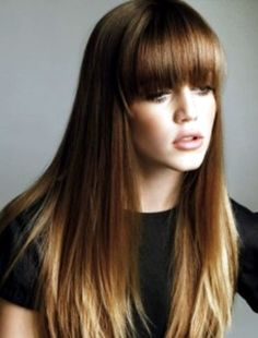 Love the little bit of ombre on the ends, the thick blunt bangs, and maybe even some Fringelights on the bangs!