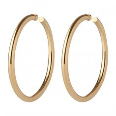 """Our best selling hoop Samira Hoop is now available with a 3"""" diameter.  Lightweight and polished, these 3"""" hoops are a perfect statement hoop.     Available in 14k Yellow Gold Plated Brass or Silver Plated Brass with Rhodium Finish   6.5 MM Thick 3 inch d"""