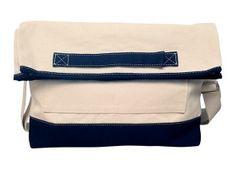 Navy fold-over laptop bag