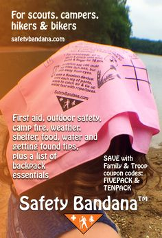 Safety Bandana, camp, hike, first aid, troop, lost, backpack, scout, safety, wildlife