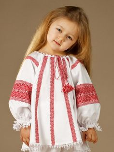Ukrainian blouse for girls blue embroidery for baby ukrainian clothes Baby Girl Dress Patterns, Dresses Kids Girl, Baby Dress, Kids Outfits, Folk Fashion, Girl Fashion, Frock Design, Girls Blouse, Russian Fashion