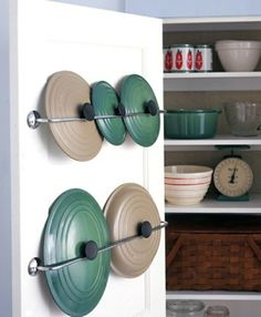 Genius DIY Kitchen Organization and Storage Ideas, DIY Lid Racks, Kitchen Storage and Organization Ideas Diy Kitchen Storage, Kitchen Organization, Organization Hacks, Organized Kitchen, Organizing Ideas, Storage Hacks, Cabinet Storage, Cabinet Space, Household Organization