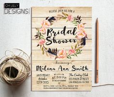 Rustic Bridal Shower Invitation Printable Floral by ohlillydesigns