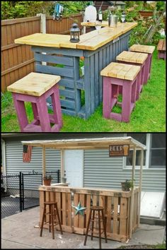 Turn pallets into an outdoor bar with stools. Do you need this idea for your backyard? Diy Pallet Furniture, Diy Pallet Projects, Backyard Projects, Outdoor Projects, Outdoor Furniture Sets, Furniture Ideas, Outdoor Pallet Bar, Wood Pallet Bar, Outdoor Decor