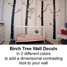 Birch Tree Wall Decals - Lovin' the two tone trees here!  What a darling nursery!