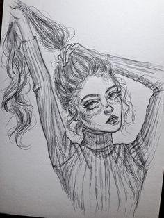 Girl Drawing Sketches, Art Drawings Sketches Simple, Sketch Painting, Sketch Art, Drawing Art, Drawing Ideas, Dark Art Drawings, Pencil Art Drawings, Cool Drawings