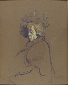 Toulouse-Lautrec//Jane Avril, 1892.  Oil on cardboard mounted on wood//National Gallery of Art.  (Not on view)