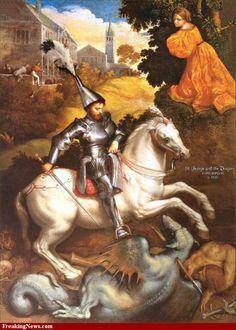 Paris Bordone (Bordon) - Saint George slaying the dragon Medieval Art, Renaissance Art, Patron Saint Of England, Saint George And The Dragon, Baroque Painting, Saint Georges, Religion Catolica, Dragon Slayer, Sacred Art