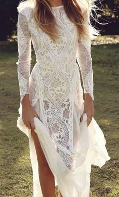 Boho Long Sleeve Wedding Dress by Grace Loves Lace Ivory Lace Wedding Dress, Open Back Wedding Dress, Wedding Gowns, Lace Maxi, Chiffon Maxi, Dress Lace, Long Sleeve Wedding Dress Boho, Long White Lace Dress, Wedding Bride