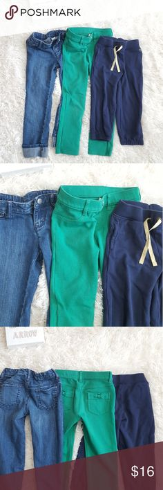 Lot of 3 girls Pants bottom Sz 5 jeans sweat pants Lot of 3 girls Pants bottom. Medium wash blue jeans fold ankles, blue Carters Sz 5t sweat pants, green skinny Gymboree pants Size 5. Gently used great condition. Bottoms Sweatpants & Joggers