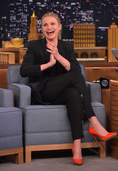Cameron Diaz Platform Pumps - Cameron Diaz brightened up her all-black outfit with a pair of red-orange patent platform pumps for her 'Jimmy Fallon' appearance.