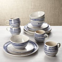 Lina Blue Stripe 16-Piece Place Setting | Crate and Barrel