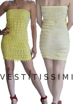 Miniabito aderente ed elasticizzato colore giallo