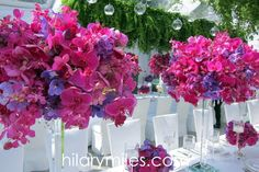 Magenta Orchid centrepieces Orchid Centerpieces, Elegant Centerpieces, Centrepieces, Magenta Flowers, Orchids, Glass Vase, Plants, Home Decor, Homemade Home Decor