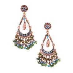 Azteca Copper Green & Turquoise Chandelier Earrings