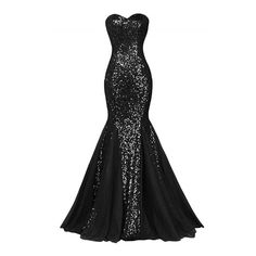 Glamour Sweetheart Sequin Mermaid Long Prom Dress ❤ liked on Polyvore featuring dresses, evening dresses, sequin cocktail dresses, cocktail party dress, sequin party dresses and long party dresses