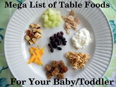 Your Kid's Table: Mega List of Table Foods for Your Baby or Toddler Homemade baby food. Homemade Baby Food Recipes Vegans Eat Yummy Food Too. Toddler Meals, Kids Meals, Toddler Food, Toddler Table, Toddler Recipes, Easy Meals, Baby Food Recipes, Snack Recipes, Detox Recipes