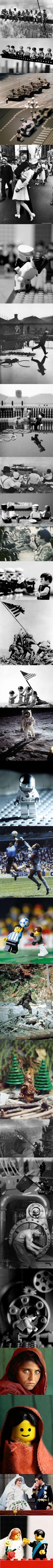 14 Classic Photographs Recreated In Lego - so funny! Lego Sculptures, Lego Minifigs, Arte Cyberpunk, Photo Images, Lego Worlds, Lego Photography, Nerd, Lego Design, Design Poster