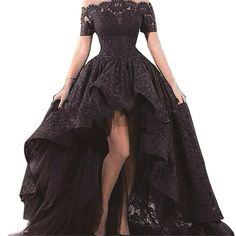 Find More Evening Dresses Information about 2016 Free Shipping High Low Prom Dresses Black Lace Evening Dress Off the Shoulder Formal Party Gowns Dresses,High Quality dress to party,China party wedding dress Suppliers, Cheap dresses wear birthday party from jmrdress7 on Aliexpress.com