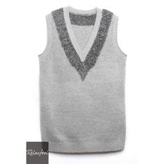 Gray V-Neck Sweater Vest (€23) ❤ liked on Polyvore featuring outerwear and vests