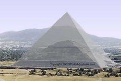 Giza Pyramid in Egypt and Pyramid of the Sun in Teotihuacan, Mexico. Halfway across the world, yet basically the same size base.