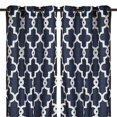 Our Navy Maxwell Curtain Panel set pairs a neutral shade of blue with a trendy quatrefoil pattern, making it a beautiful bedroom or living room addition. Grommet Curtains, Blackout Curtains, Drapes Curtains, Drapery, Navy Blue Curtains, White Curtains, Geometric Curtains, Quatrefoil Pattern, Beautiful Bedrooms