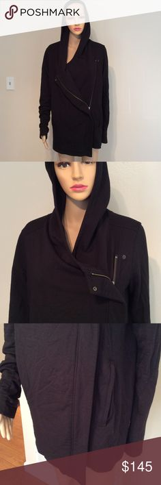 Helmut Lang asymmetrical Villous zip hoodie jacket Worn couple times,with lining and pockets,rayon blend,perfect for fall Helmut Lang Jackets & Coats