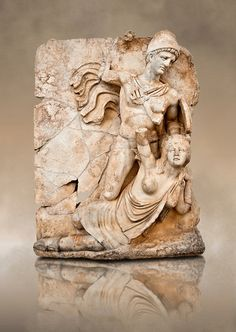 Roman releif sculpture of Emperor Claudius About to vanquish Britanica from Aphrodisias, Turkey, Images of Roman art bas releifs. Buy as stock or photo art prints. Naked warrior Claudius id about to deliver the death blow to Britanica.