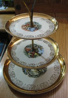 Your place to buy and sell all things handmade Metal Cake Stand, Cake And Cupcake Stand, 3 Tier Cake, English China, Jewelry Tray, Brass Handles, Serving Dishes, Table Settings, Porcelain