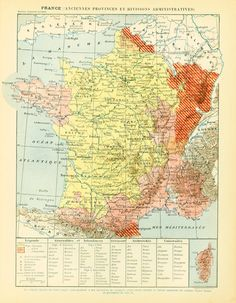 """French antique prints published in Paris by #LAROUSSE between 1897 and 1907. Not a copy. Taken from the """"Nouveau Larousse illustré"""". Frame it or use it for cards, scrapbooki... #larousse #mapping"""
