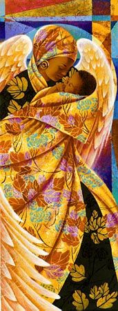 Autumn is a limited edition work of art by Keith Mallett of a black mother with angel wings draped in black robes with golden leaves holding her infant child who is wrapped in a golden leaf patterned robe. African American Art, African Art, Madonna, Arte Black, Art Africain, Black Angels, Black Artwork, Angels Among Us, Afro Art