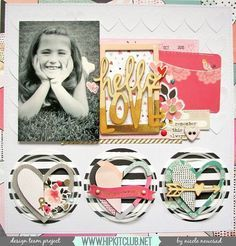 scrapbook layout with black and white photo