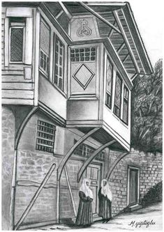 Mahmut YİĞİTOĞLU Web Sitesi Landscape Pencil Drawings, Cool Art Drawings, Pencil Art Drawings, Art Drawings Sketches, Watercolor Landscape, Watercolor Art, Interior Architecture Drawing, Building Illustration, Perspective Drawing