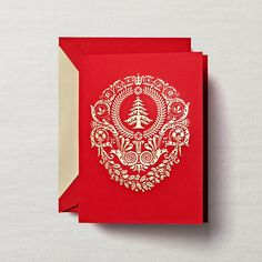 To commemorate special of events, one often does so with a plaque most divine. The holiday season certainly deserves such fanfare, which is why this vibrant red card, hand engraved in gold, might just end up framed for year round reveling.