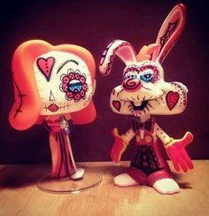Funko Pop Vinyl  Custom  day of the dead  Roger and Jessica rabbit  Sugar skull artist aj creep