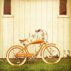 Bicycle photography, rustic decor, retro bike, orange wall art, autumn color, bohemian unisex metro large wall art
