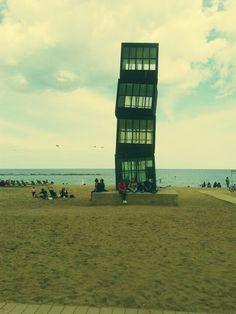 Skewed blocks on Barceloneta beach