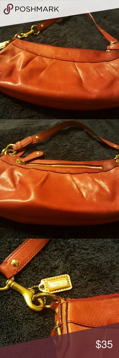 Coach purse Red leather with gold accents.  Needs minor cleaning & price will reflect same Coach Bags Satchels