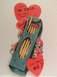 "102 Vintage Valentine Card Box Case of Pencils "" Just in Case "" Unused 1950'S 