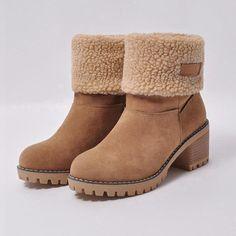 73732cd896e5 CYOSO Brand Shoes Woman Fur Warm Women s Winter Boots Square Heels Ankle  Boots Botas Mujer Women s
