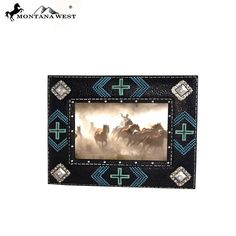 Beaded and Multi Crosses Resin Texture Black Color Photo Frame