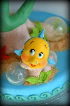 Little Mermaid Cake with close up of Flounder