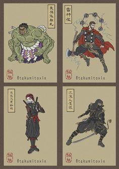 Avengers: Ultimate in Japanese Art Ukyio-e - Melissa Home Marvel Comics, Heros Comics, Marvel Funny, Marvel Art, Marvel Memes, Marvel And Dc Superheroes, The Avengers, Thanos Avengers, Thanos Hulk